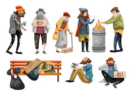 Homeless people cartoon. Unemployment people Vektoros illusztráció