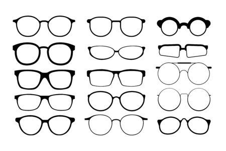 Schwarze Brillenfassungen. Brillen und Sonnenbrillen Vektorgrafik
