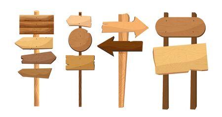 Wooden way direction signs. Vintage board Stock Illustratie