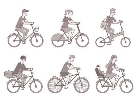 Cyclists set. Men and women on bikes