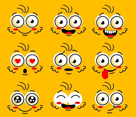 Cartoon face character. Funny face parts with expressions emotion eye Comic doodle smile face, angry, sad, cute and smiley eye. Cartoon faces expressions set isolated on yellow background.