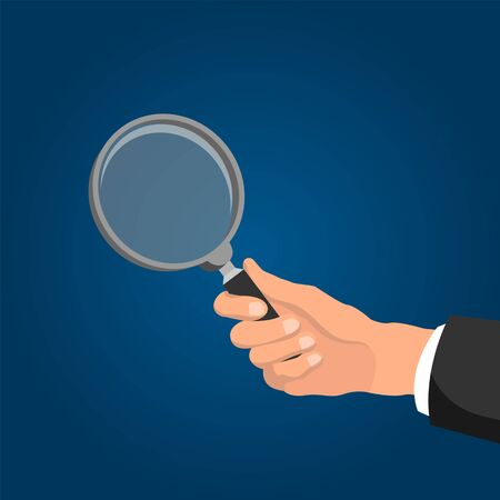 Corporate manager holding magnifier illustration Иллюстрация