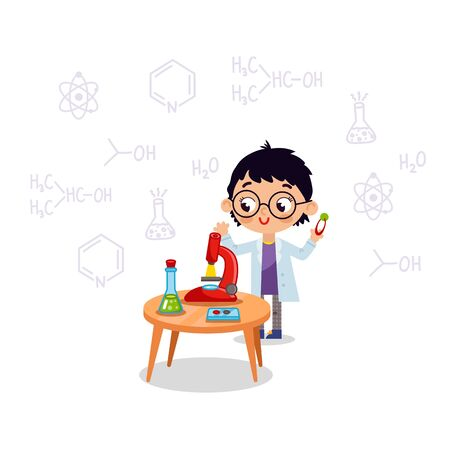 Little scientist. School chemical laboratory