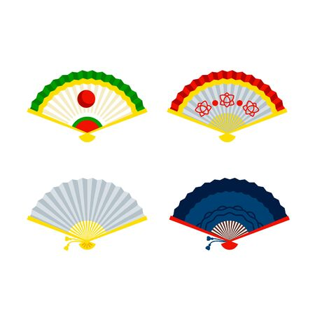 Chinese hand fans. Beautiful asian accessory Иллюстрация