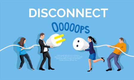 Disconnect plug concept. People holding cable. Фото со стока - 147423145