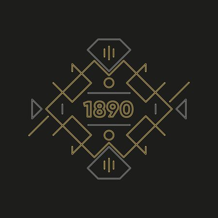 Art deco logo design. Premium golden frame