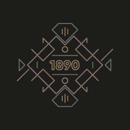 Création de logo art déco. Cadre doré haut de gamme