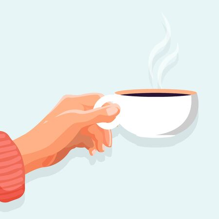 Morning coffee poster. Side view of ceramic mug