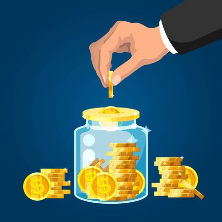 Save money. Businessman hand putting golden coin