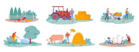 Agriculture worker. Farm life scenes Çizim