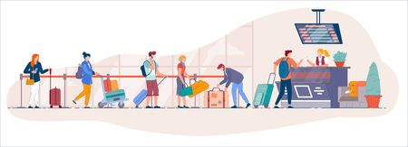 Airport check in desk. Traveler queue from airport terminal check in counter for drop-off luggage to security line. Cartoon vector people with suitecase stand in queue to for registration to departure Vectores