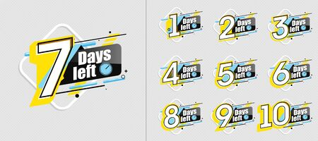 countdown label set with limited time badge Foto de archivo