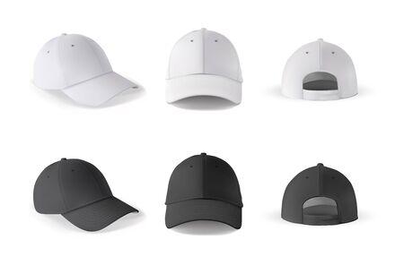Casquette de baseball. Modèle de casquette de baseball réaliste vues avant, latérales et arrière. Casquette vierge noir et blanc isolé sur fond blanc. Maquette vide avec un côté différent du chapeau de sport.