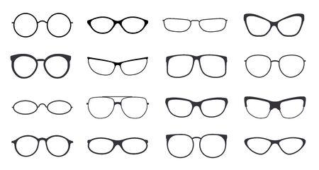 Glasses vector. Eyeglasses frame icon on white background. Fashion hipster eyewear with black and optic glasses rim isolated Vector Illustration