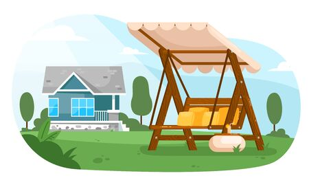 Garden swing. Empty wooden swing bench seat furniture with canopy, table and cushions in summer backyard garden of cottage house. Outdoor leisure in nature