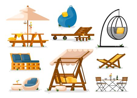 Garden furniture. Outside wooden garden swing bench seat, table, chaise longue, hanging chair, table, bean bag chair, couch set. Garden yard furniture object collection for outdoor leisure Vecteurs