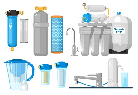 Water filters. Countertop, undersink, pitcher container, whole house, reverse osmosis water filters set. Natural fresh water purity. Mineral filtration or purification systems collection Ilustración de vector