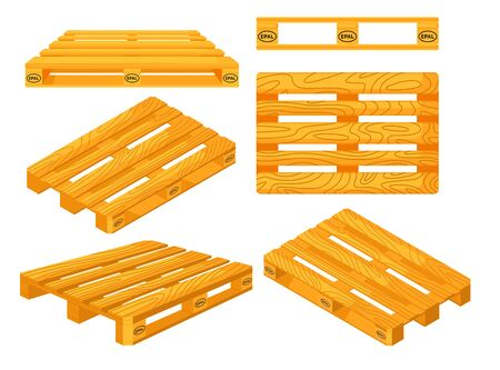 Wooden pallets. Top, front, side, perspective and isometric views of wooden pallet objects set. Platforms for freight transportation collection. Cargo logistics and distribution Ilustración de vector