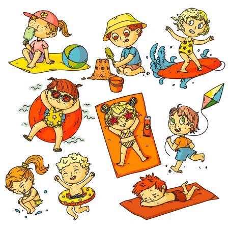 Kids summer vacation. Children beach activities set. Happy kids people swimming in ocean, sunbathing, surfing, building sand castle, flying kite collection. Childhood summer vacation activities Ilustração Vetorial