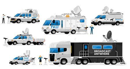 Broadcast vans. Broadcasting transport set