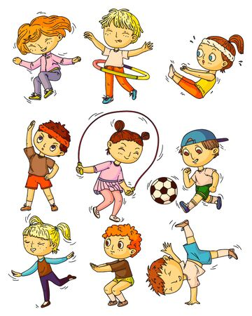 Kids sports. Children working out, doing sports activity set. Happy kids people training, exercising, doing gymnastics, squats, skipping, playing soccer, dancing childhood lifestyle collection