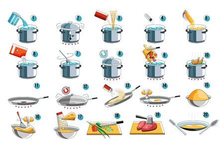 Instrucción de cocina. Cocine la guía de iconos para el diseño del menú de comida con el símbolo kithcen. Instrucciones de preparación para hervir y freír alimentos mixtos, desde fideos y pasta hasta carne y verduras. Cocinar preparar el juego de pasos. Ilustración de vector