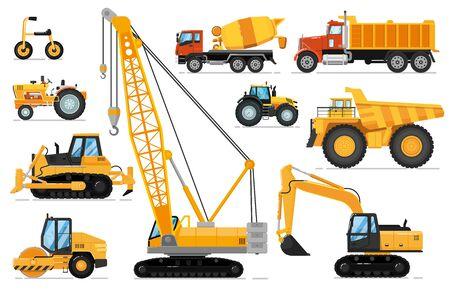 Construction vehicles set. Heavy machines
