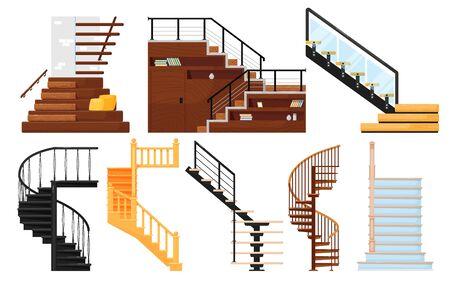 Interior wooden stairs, store escalator vector Vektorgrafik