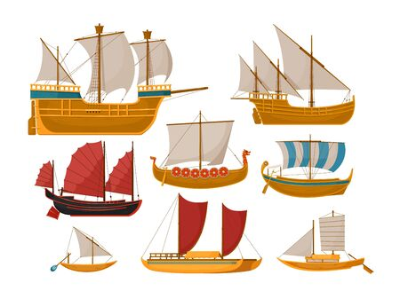 Sailboat set with sea vessel and ocean ship side