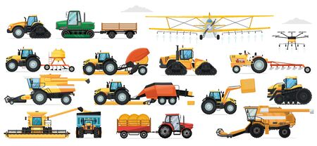 Agricultural machinery set. Vehicle for field farm