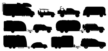 Travel car set. Camping car silhouettes
