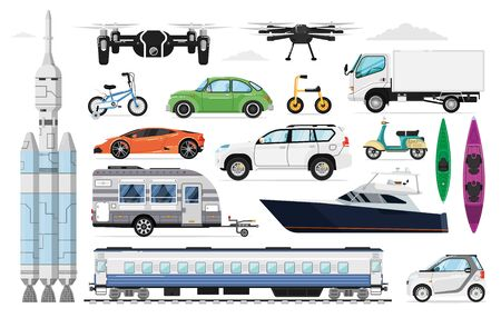 Transportation vehicles set. Different transport Vectores
