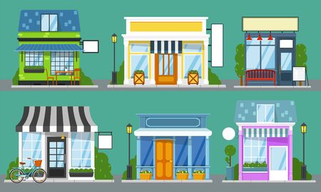 Shop front set. Isolated outdoor store facades with blank sign mockup templates. City street cute building storefronts with door, window, bench, table, lantern. Shop front empty showcase collection