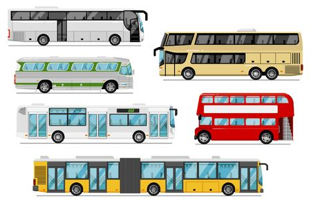 Passenger bus set. Isolated public city, coach, tour, double-decker bus transport icons. Bus vehicles with luggage compartments and bellows. Urban passenger transportation and journey