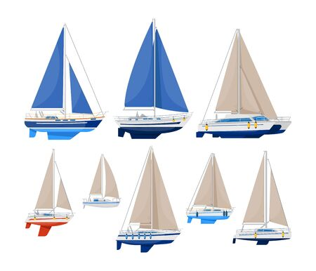 Sail vessel. Modern sailboat vector illustration. Sea ship and ocean vessel with sail on white background. Luxury yacht collection for nautical cruise Illustration