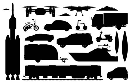 Transport vehicles set. Different transport