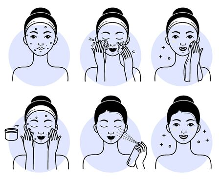 Face skincare set. Isolated woman cleansing, washing face, applying facial spray cosmetic and cream to healthy skin line drawing icons. Vector girl beauty face skincare treatment, hygiene procedure Vektoros illusztráció
