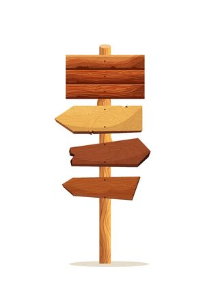 Wooden plaque guidepost sign isolated on white