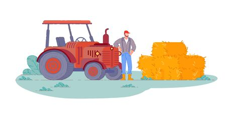 Tractor operator. Isolated farm field tractor Ilustração