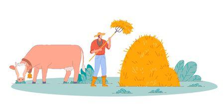 Farmer making farm hay. Isolated person Banco de Imagens - 150527294