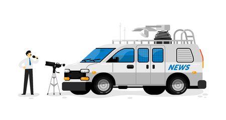 Broadcast van. Isolated broadcasting