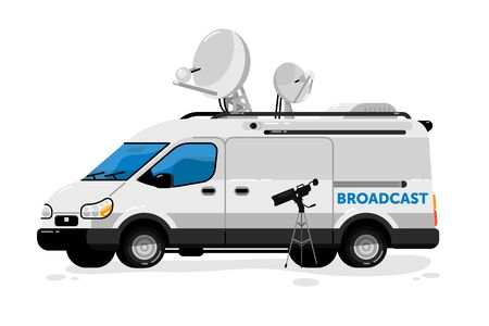 Broadcasting van. Isolated media broadcasting