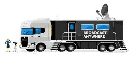 Broadcast truck. Isolated media broadcasting Illustration