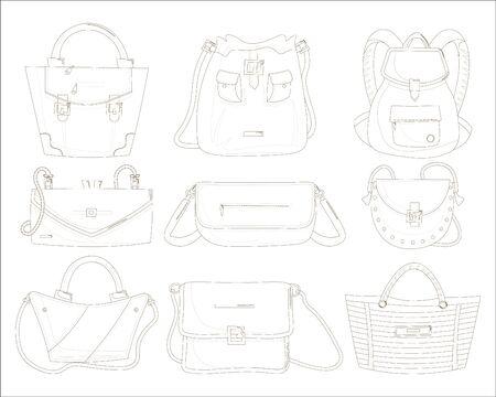 Female handbags set. Isolated woman hand bag