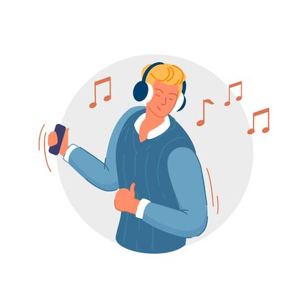 Wireless music. Joyful man holding smartphone