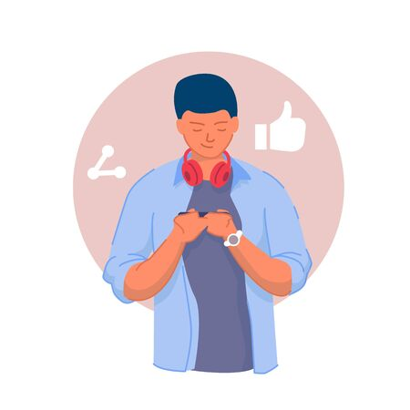 Social network connection. Young man texting Stock Illustratie