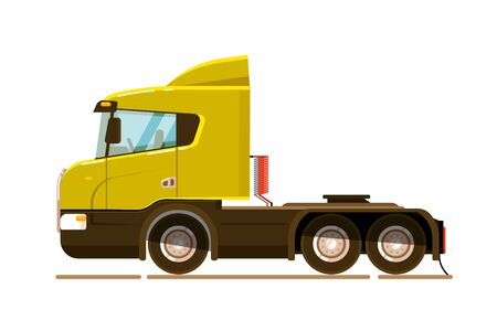 Semi truck transport unit on white background