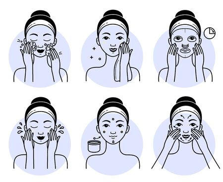 Face cosmetics set. Isolated woman cleansing, washing, massaging face and applying facial mask cosmetic, cream to skin line drawing icons. Vector lady beauty face skincare treatment, hygiene routine Vektoros illusztráció