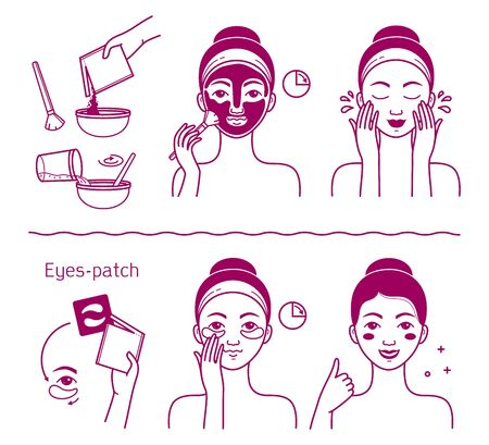 Face skin beauty set. Isolated woman preparing and applying facial mask cosmetic and eyes patch to skin line drawing icons. Vector girl beauty face skin care treatment procedure instruction