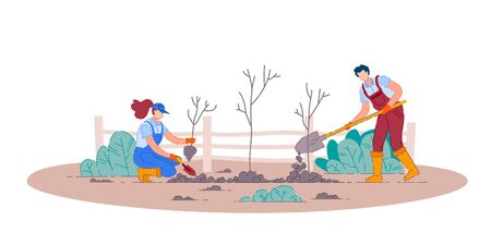 Planting fruit trees. Isolated man and woman gardener people cartoon characters holding shovels and planting fruit tree plants in garden. Vector gardening and agriculture  イラスト・ベクター素材